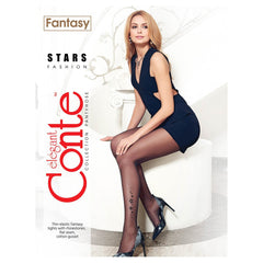 Conte Women's Stylish Rhinestone Black Pantyhose Tights with Stars Pattern