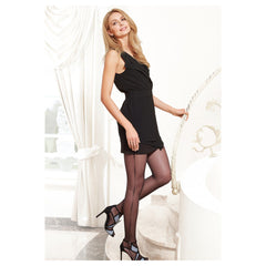 Conte Lira Dark Brown (Moro) Sheer Pantyhose Tights with Dotted Side Seam Imitation