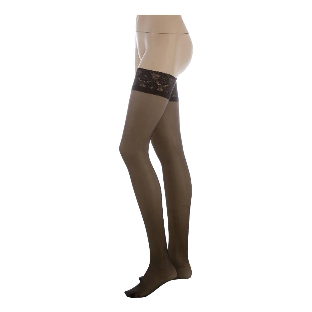 Conte Women's Thigh High Self- Supported Black Stockings, Class 40 Denier