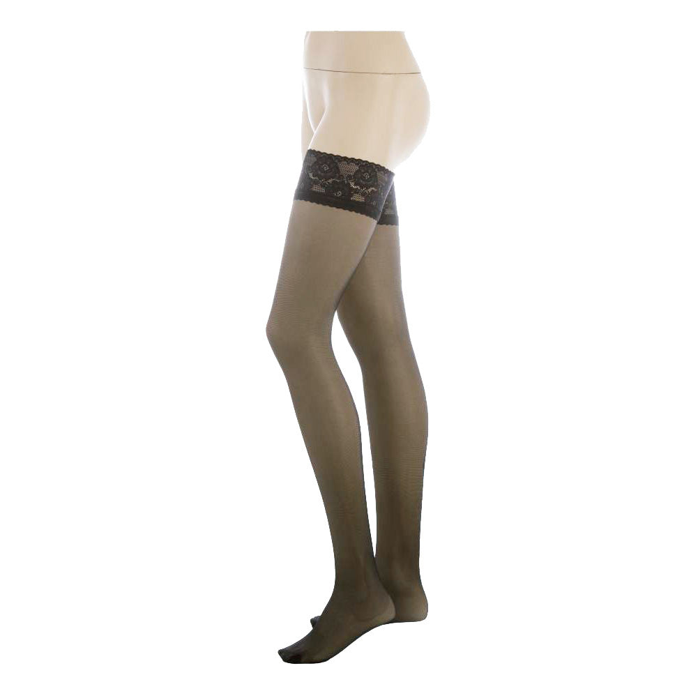 Conte Women's Thigh High Self- Supported Grey Stockings, Class 40 Denier