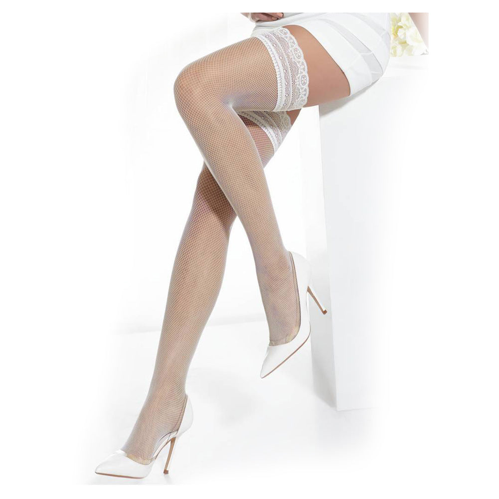 Conte Women's Ivory Thigh High Fishnet Bridal Stockings - Bellissima