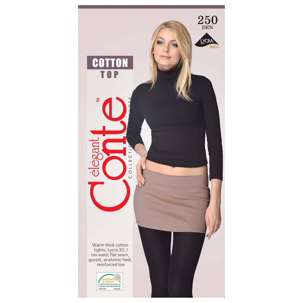 Conte Women's Low Waisted Black Cotton Tights  - Cotton Top