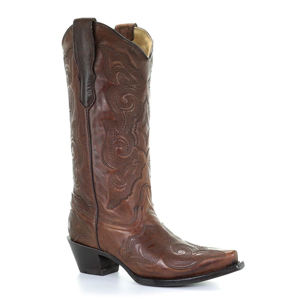 CORRAL Womens Katie Embroidery Burnished Brown Boots (E1005-LD)