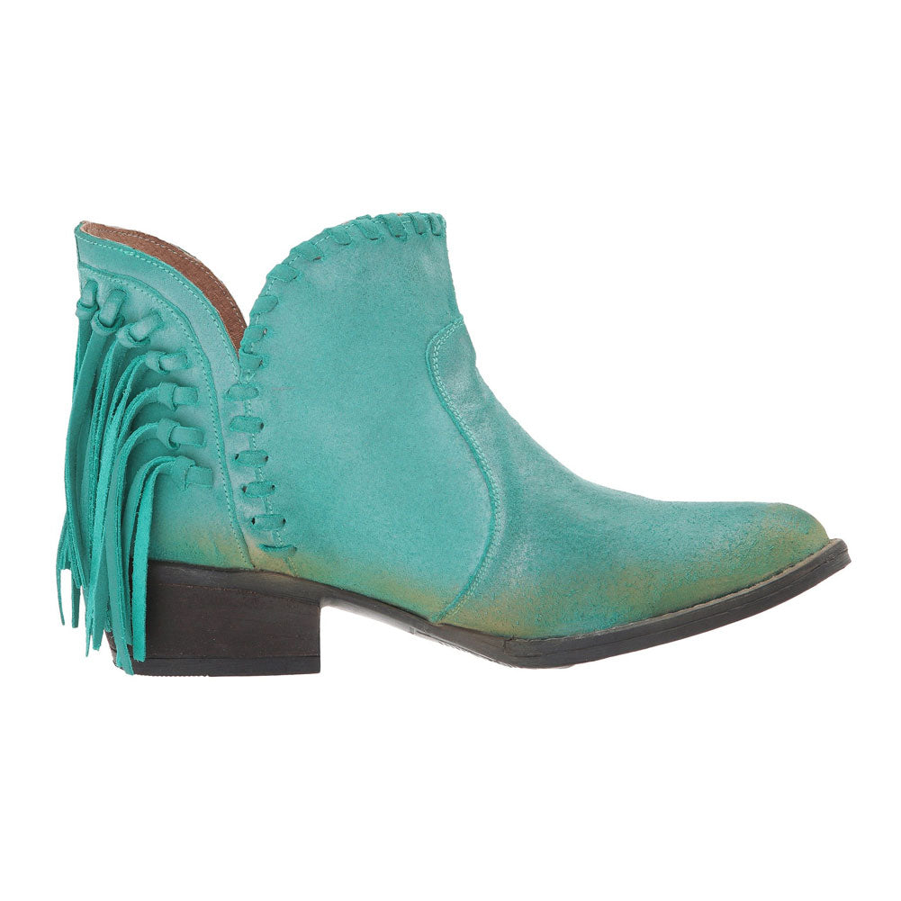 CORRAL Womens Q0005 Turquoise Fringe Shortie Boots (Q0005-LD)