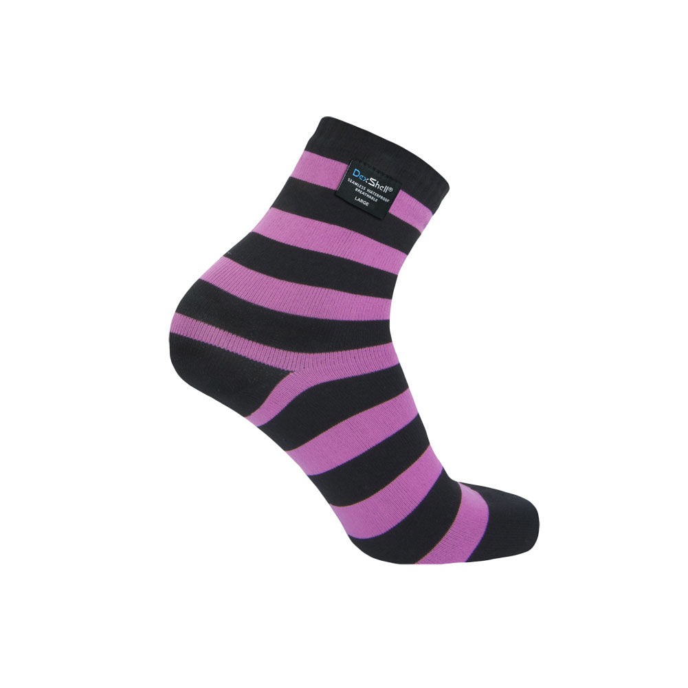 DEXSHELL Ultralite Bamboo Black/Pink Stripe Socks (DS643P)