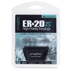 ETYMOTIC RESEARCH ER20 XS Standard Clear White High-Fidelity Earplugs In Clamshell (ER20XS-SMF-C)