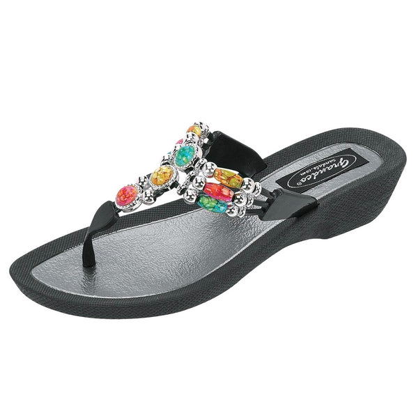 GRANDCO Women's Aruba Black Thong Sandals (25277G-BK)