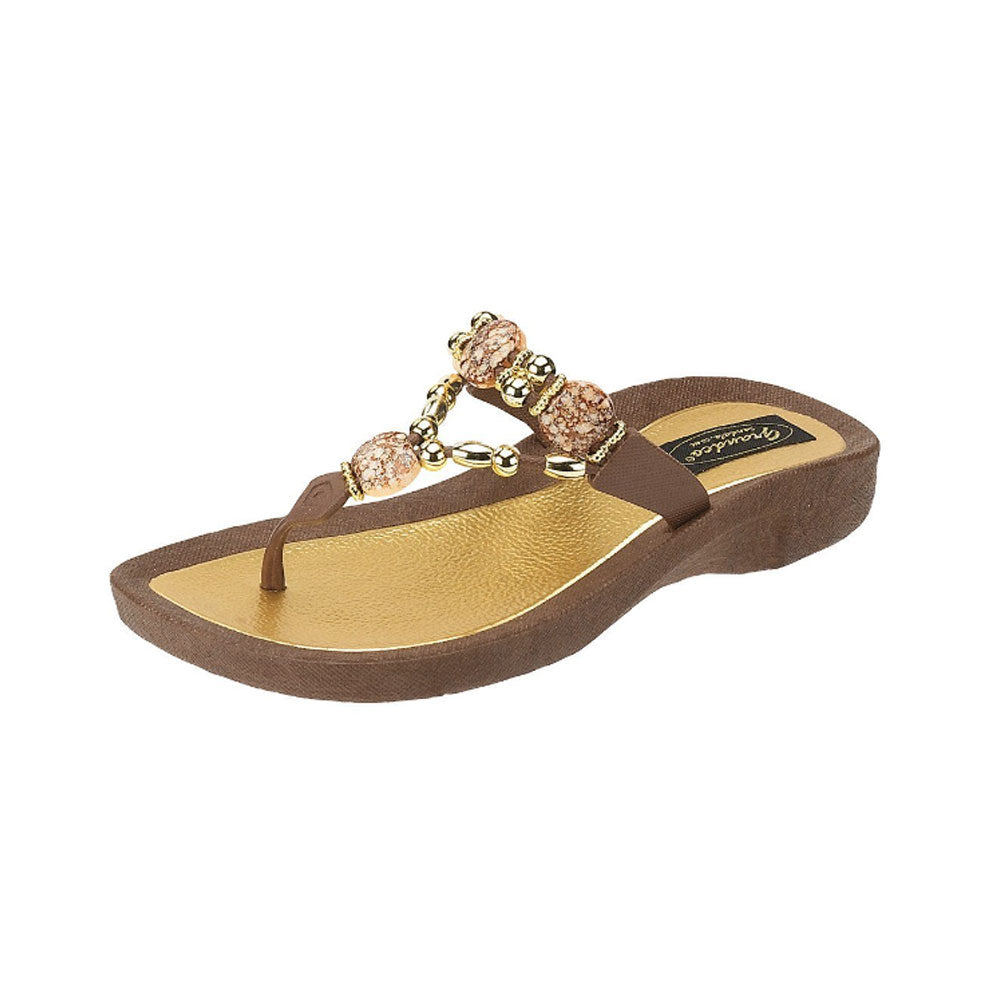 GRANDCO Womens Expression Thong Brown Sandal (25542E-LD-BR)