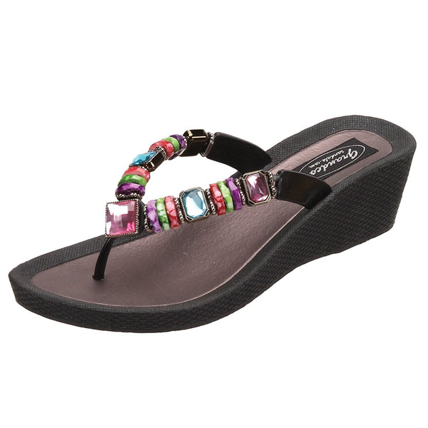 GRANDCO Women's Rainbow Wedge Black Thong Sandal (26462E-LD-BK)