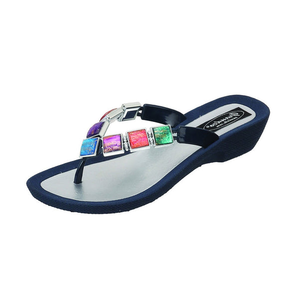 GRANDCO Womens Stained Glass Thong Navy Blue Sandal (27234E-LD-BL)