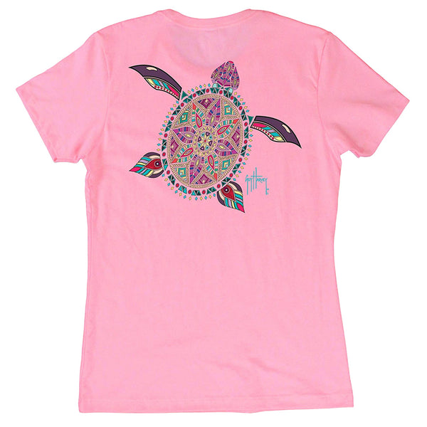 GUY HARVEY Womens Turtle Beach Short Sleeve Light Pink T-Shirt (LTH41323-LPNK)