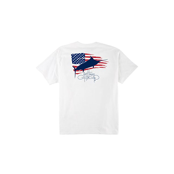 GUY HARVEY Mens Patriot Short Sleeve White T-Shirt (MTH11008-WHT)