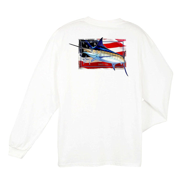 GUY HARVEY MTH21306-WHT-S Mens Black Magic Long Sleeve White T-Shirt