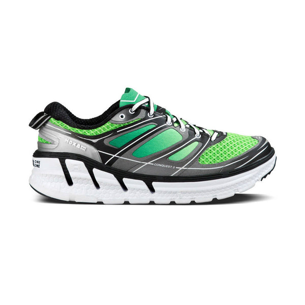 HOKA ONE ONE Conquest 2 Green Flash, Silver Road Running Shoes (1007855-GFSL)