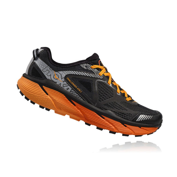 HOKA ONE ONE Challenger Atr 3 Black, Red Orange Trail Running Shoes (1014761-BRORN)