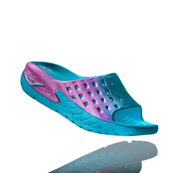 HOKA ONE ONE 1014865-BAPN Women's Ora Recovery Blue Atoll and Pink Slipper Sandals