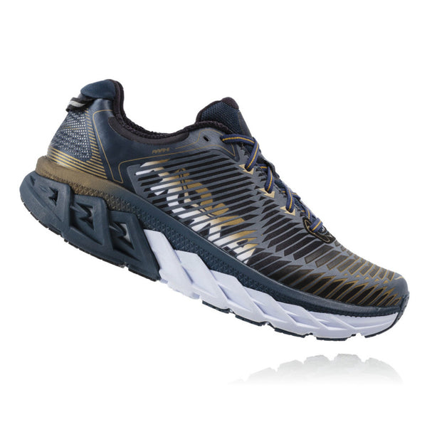 HOKA ONE ONE 1017572-MNMG Men's Arahi Midnight Navy and Metallic Gold Wide Road Running Shoes