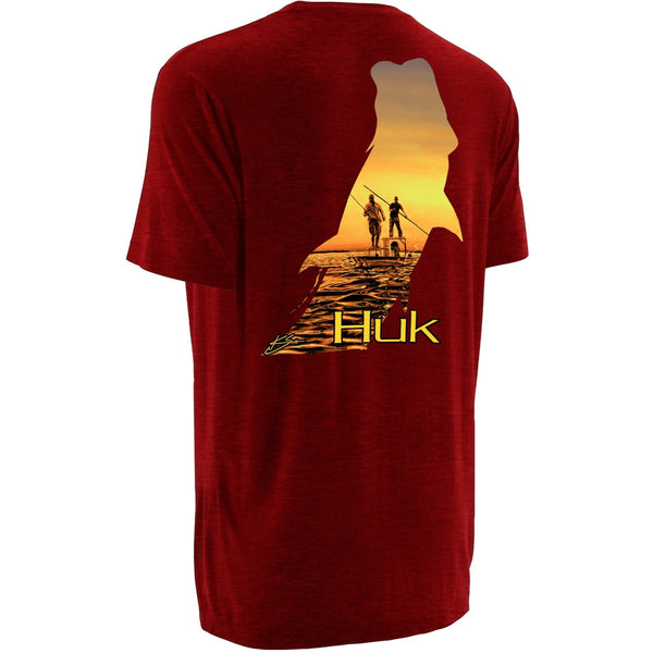 HUK H1000033HRD K Scott Heather Red Short Sleeve Twighlight T-Shirt
