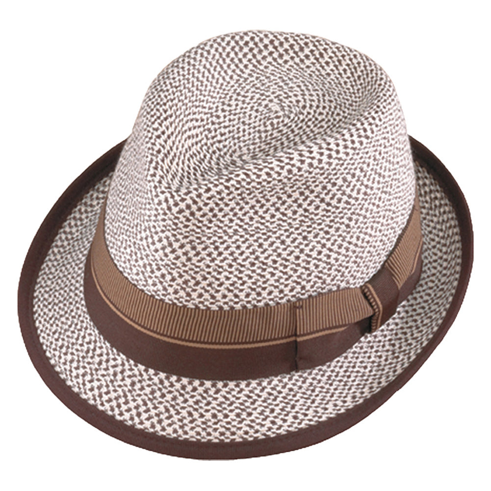 HENSCHEL HATS Bone/Brown Fedora (334053-BONE/BRN)