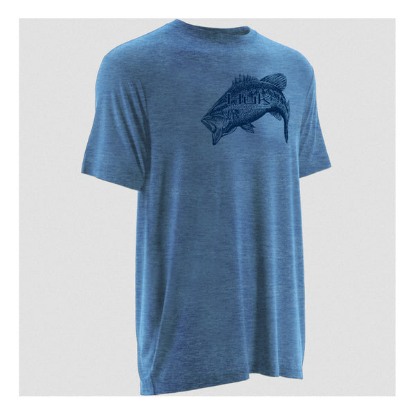 HUK H1000039HCB Heather Carolina Blue Short Sleeve Inked Bass T-Shirt