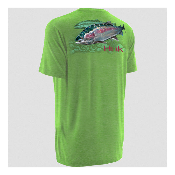 HUK H1000053HNG K Scott Heather Neon Green Short Sleeve Steelhead T-Shirt