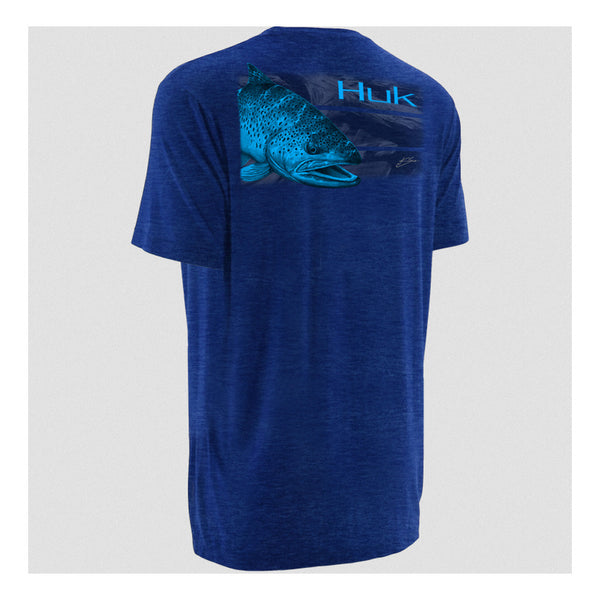 HUK H1000056RYH K Scott Royal Heather Short Sleeve Brown Trout T-Shirt