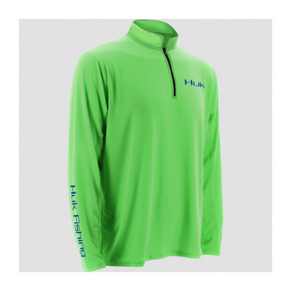 HUK Icon Neon Green Long Sleeve 1/4 Zip Shirt (H1200065NGN)