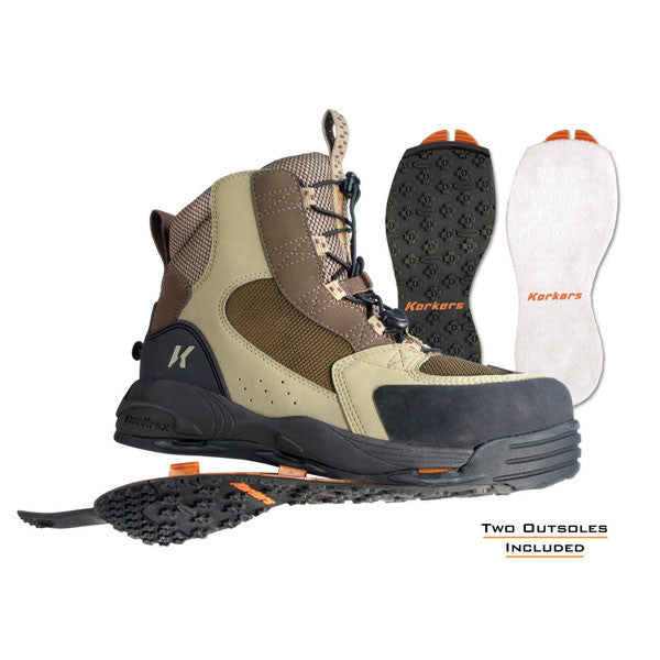 KORKERS Redside w/ Felt and Kling-On Outsoles Fishing Boots, Elmwood/Dark Earth (FB3310)