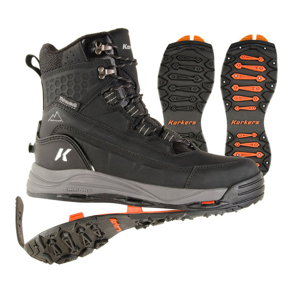 KORKERS Mens Snowmageddon with SnowTrac/IceTrac Soles Black Boots (OB9520BK)