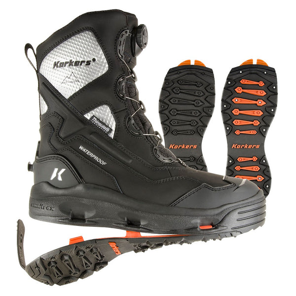KORKERS Polar Vortex 1200 with SnowTrac/IceTrac Soles Black/Silver Boots (OB9920BK)