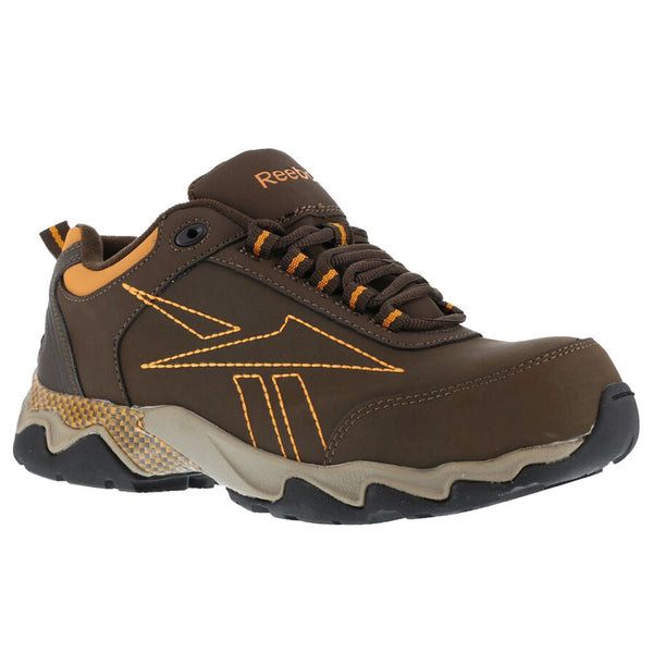 REEBOK Mens Beamer Brown Oxford Athletic Shoes with Orange Trim (RB1063)