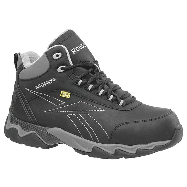 REEBOK Mens Beamer Black Waterproof Athletic Hiker Boots with Grey Trim (RB1068)