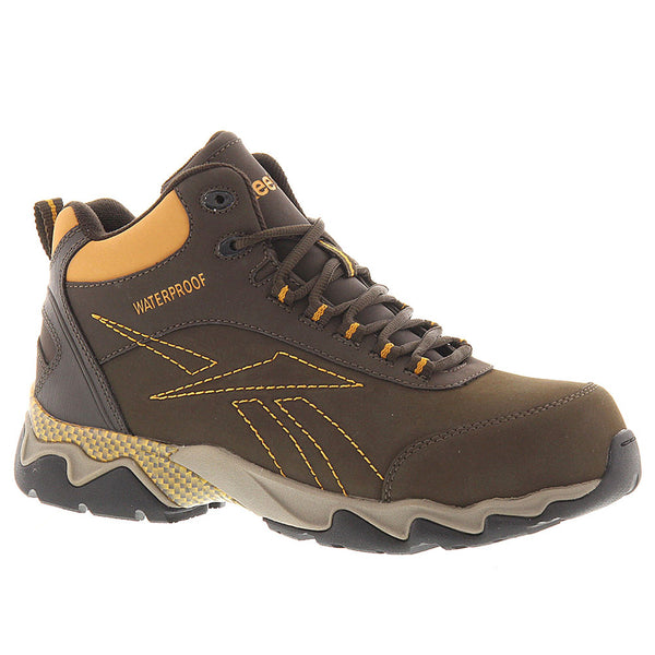 REEBOK Mens Beamer Brown Waterproof Athletic Hiker Boots with Orange Trim (RB1069)