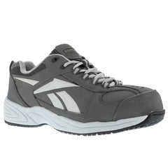 REEBOK RB1880 Mens Jorie Grey Street Sport Jogger Oxford Shoes with Silver Trim