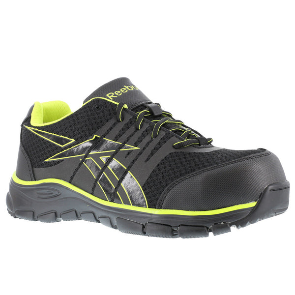 REEBOK Mens Arion Seamless Black Athletic Oxford Shoes with Green Trim (RB4501)