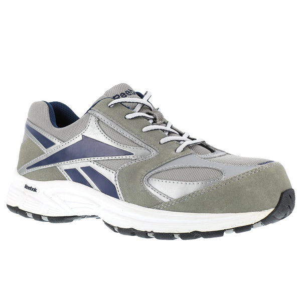REEBOK Mens Ateron Gray and White Performance Cross Trainer Shoes with Blue Trim (RB4896)