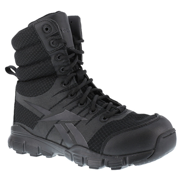 REEBOK Mens Dauntless 8in Ultra-Light Black Tactical Boots with Side Zipper (RB8720)