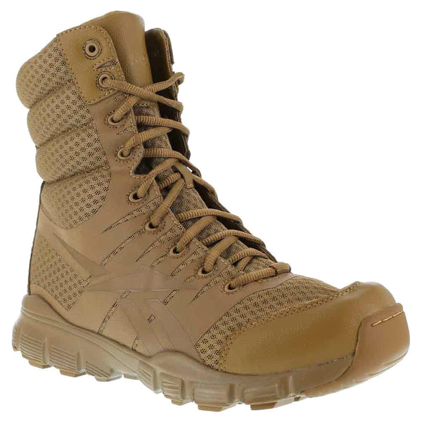 REEBOK Mens Dauntless 8in Ultra-Light Coyote Tactical Boots with Side Zipper (RB8721)