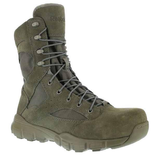REEBOK Mens Dauntless 8in Sage Green Tactical Boots with Side Zipper (RB8835)