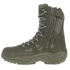 REEBOK RB8990 Mens Rapid Response RB 8in Sage Green Stealth Boots with Side Zipper