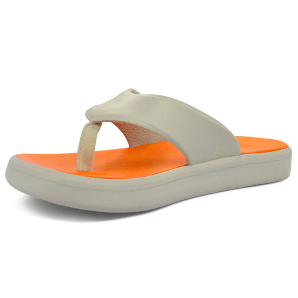 SOFTSCIENCE Unisex Skiff Light Gray and Orange Flip Flops (UC0009LTO)