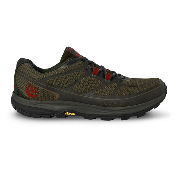 TOPO ATHLETIC Mens Terraventure 2 Olive/Red Running Shoes (M029-OLVRED)