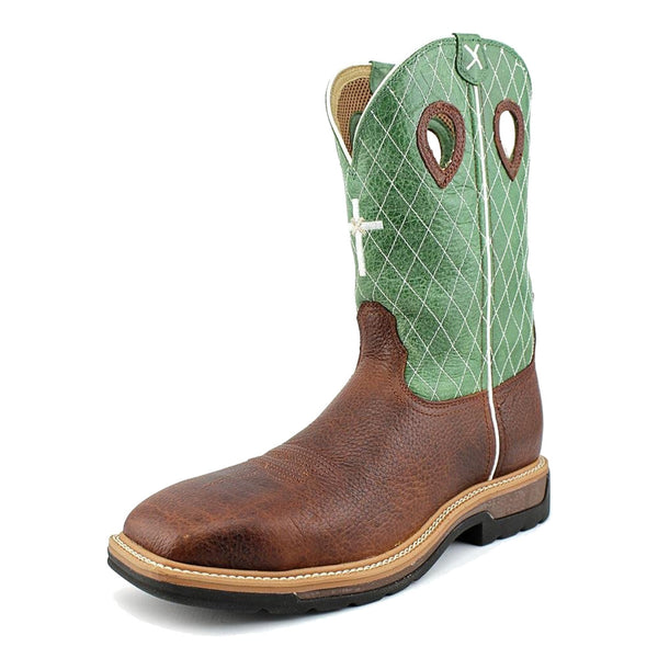 TWISTED X Mens Lite Cowboy Cognac Glazed Pebble/Lime Workboot (MLCS002)