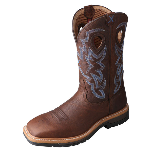 TWISTED X Mens Lite Cowboy Brown Pebble/Brown Pebble Workboot (MLCS003)