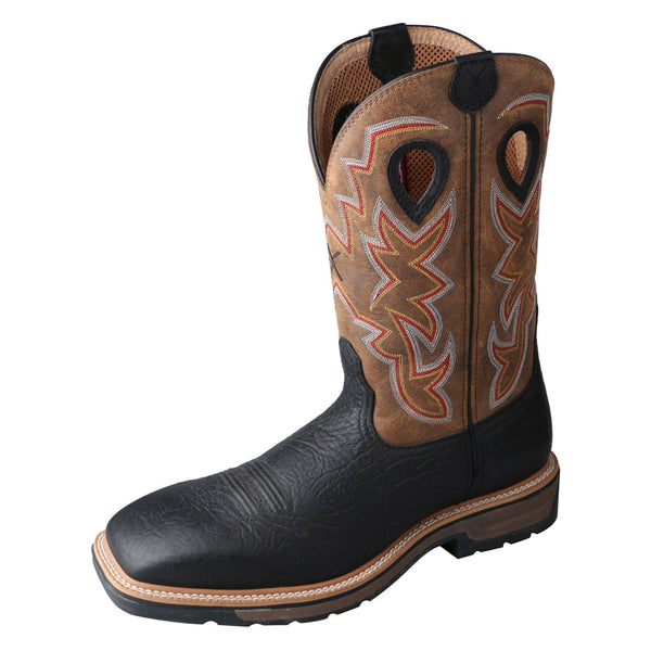 TWISTED X Mens Lite Cowboy Oiled Black/Brown Workboot (MLCS005)