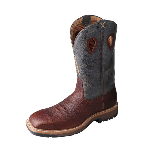 TWISTED X Mens Lite Cognac/Blue Cowboy Workboot (MLCS006)