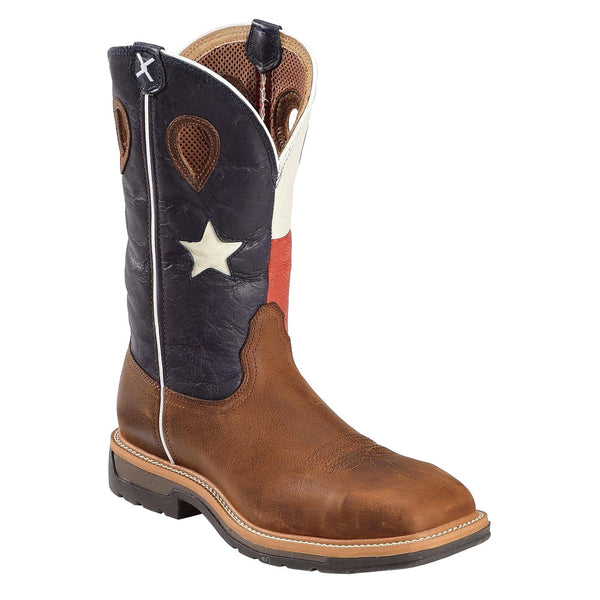 TWISTED X Mens Lite Cowboy Brown/Texas Flag Workboot (MLCS007)