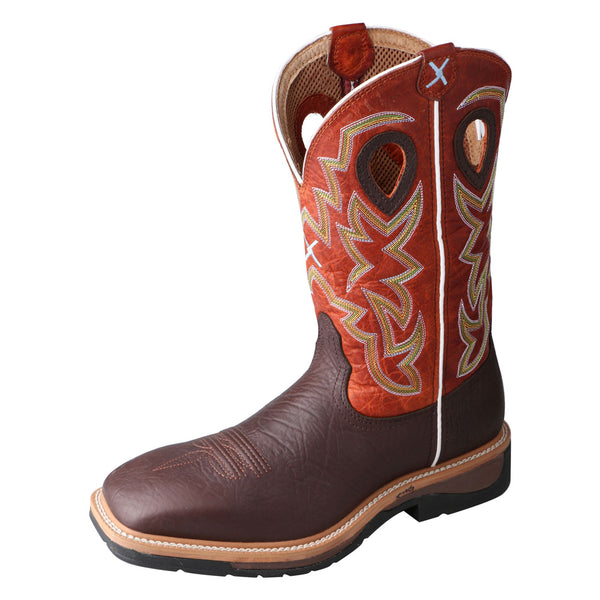 TWISTED X Mens Lite Cowboy Brown Oilded Shoulder/Orange Workboot (MLCS011)