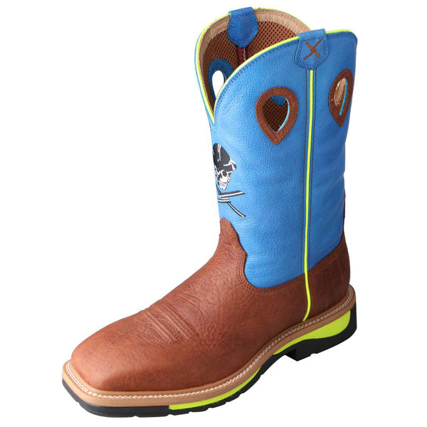 TWISTED X Mens Lite Cowboy Brown Oiled Shoulder/Neon Blue Workboot (MLCS012)