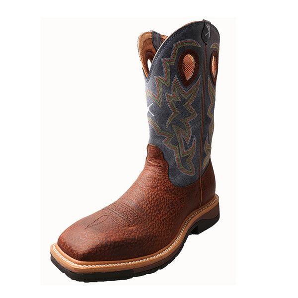 TWISTED X Mens Lite Peanut Distressed/Navy Cowboy Workboot (MLCS016)